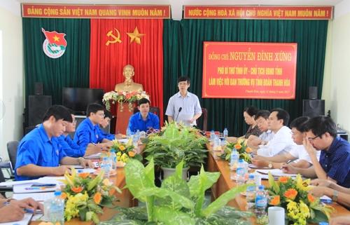 Phó Bí thư Tỉnh ủy, Chủ tịch UBND tỉnh Nguyễn Đình Xứng làm việc với BTV Tỉnh đoàn.